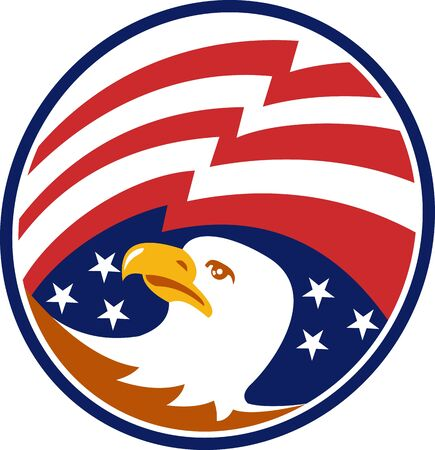 bald eagle: Illustration of an American bald eagle head looking to side with stars and stripes flag set inside circle
