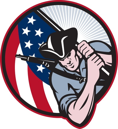 patriots: Illustration of an American patriot minuteman revolutionary soldier with stars and stripes flag set inside circle done in retro style