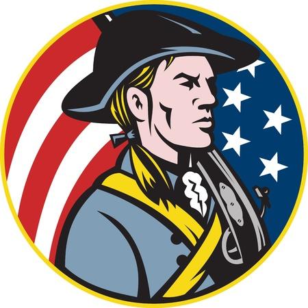 revolucionario: Ilustraci�n de un soldado estadounidense patriota, minuteman revolucionaria con el rifle de mosquete y las estrellas y la bandera de franjas establecido dentro del c�rculo hecho en estilo retro