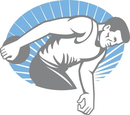 lanzamiento de disco: Ilustración de un atleta lanzando discusión tiro visto desde el lado hecho en estilo retro en el interior elipse con rayos de sol