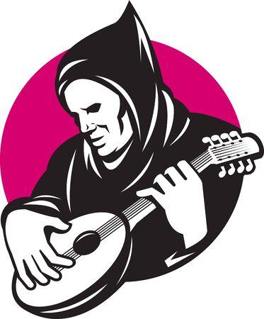 húros: Illusztráció egy csuklyás ember játszik vonós hangszer bendzsó gitár végzett retro stílusban