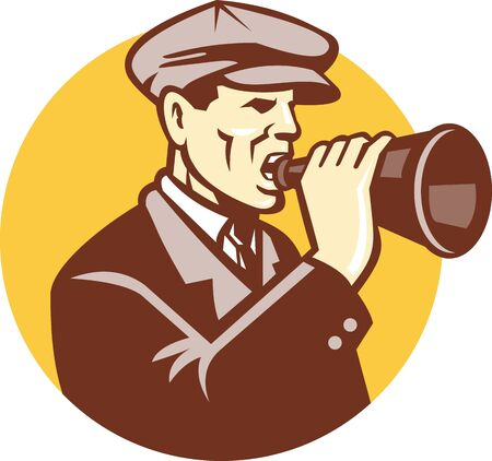 bul: Illustration of a gentleman man shouting using vintage bullhorn done in retro woodcut style