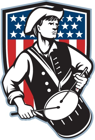 drumming: Illustration of an American patriot minuteman revolutionary soldier drummer with drums and stars and stripes flag set inside shield done in retro style  Illustration