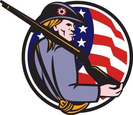 revolucionario: Ilustraci�n de un soldado americano patriota revolucionario minuteman con rifle mosquete y las estrellas y franjas bandera situada en el interior del c�rculo hecho en estilo retro