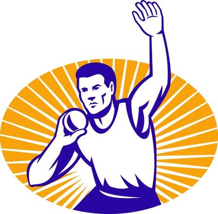lancio del peso: Illustrazione di un colpo messo atleta gettare gettare gettare visto dalla parte anteriore fatta in stile retr� all'interno di un'ellisse con sunburst Vettoriali