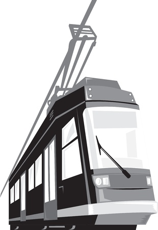 trams: Illustration of a modern streetcar train tram viewed from a low angle on isolated white background done in retro style  Illustration