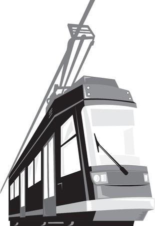 streetcar: Ilustraci�n de un tranv�a tranv�a tren moderno visto desde un �ngulo cerrado sobre fondo blanco aislado hecho en estilo retro