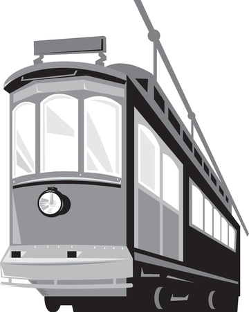 trams: Illustration of a vintage streetcar train tram viewed from a low angle on isolated white background done in retro style