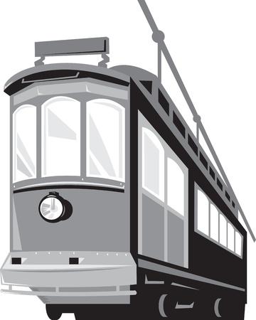 streetcar: Ilustraci�n de un tranv�a tranv�a tren de �poca se ve desde un �ngulo cerrado sobre fondo blanco aislado hecho en estilo retro Vectores