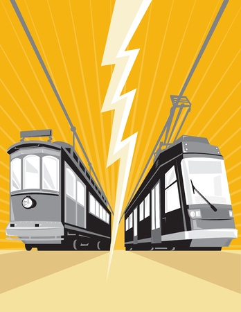 streetcar: Illustration of a vintage and modern streetcar train tram viewed from a low angle with lightning bolt in the center done in retro style