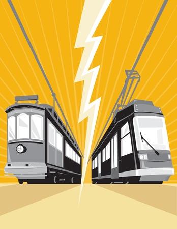 streetcar: Ilustraci�n de un tranv�a tranv�a tren de �poca y moderno visto desde un �ngulo bajo con rayo en el centro hecho en estilo retro