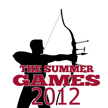 Illustration of an athlete archer with bow and arrow with words Summer Games 2012 done in retro style.  illustration