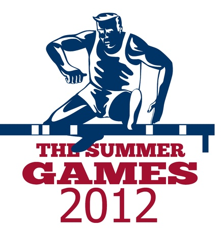 hurdles: Illustration of an athlete jumping hurdles with words Summer Games 2012 done in retro style.