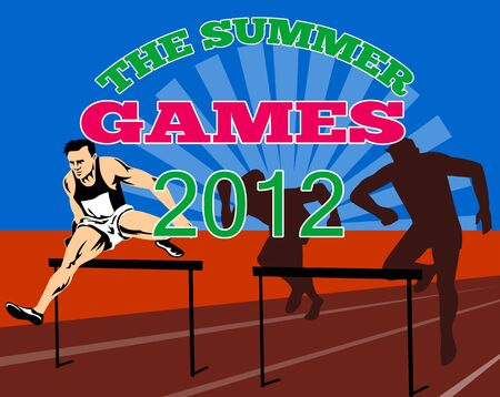 Illustration of an athlete jumping hurdles with words Summer Games 2012 done in retro style  Stock Illustration - 13211663