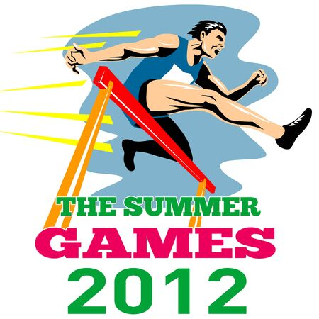 Illustration of an athlete jumping hurdles with words Summer Games 2012 done in retro style Stock Illustration - 13211670