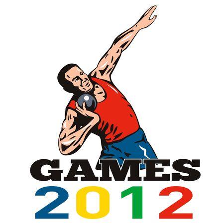 shot put: Ilustraci�n de un disparo de tiro deportista puso con palabras Juegos de 2012 hecho en estilo retro Foto de archivo