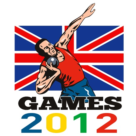 shot put: Illustration of an athlete shot put throw with words Summer Games 2012 and Union Jack British UK Flag done in retro style  Stock Photo