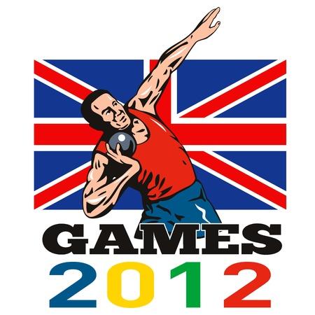 shot put: Ilustraci�n de un disparo de tiro deportista puso con palabras los Juegos de Verano 2012 y Union Jack brit�nica de la bandera del Reino Unido realizado en estilo retro