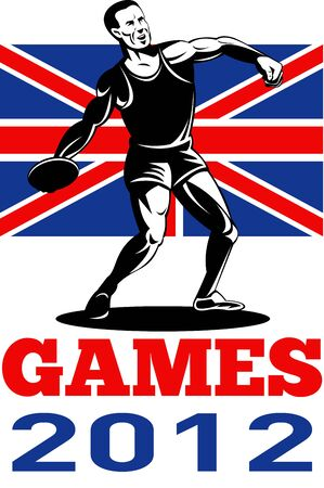 Illustration of an athlete Discus Throw with words Summer Games 2012 and Union Jack British UK Flag done in retro style  illustration
