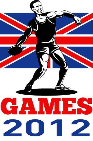 lanzamiento de disco: Ilustraci�n de un atleta Discus Throw con palabras Juegos de Verano de 2012 y Union Jack brit�nica de la bandera brit�nica hecha en estilo retro