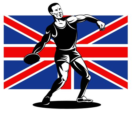 Illustration of an athlete Discus Throw with Union Jack British UK Flag done in retro style  illustration