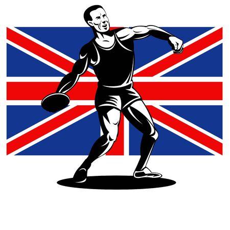 lanzamiento de disco: Ilustración de un atleta de Discus Throw con la bandera Union Jack británica Reino Unido realizado en estilo retro