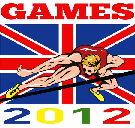 Illustration of an athlete high jump jumping with words Games 2012 and Union Jack British UK Flag done in retro style  illustration