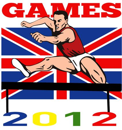Illustration of an athlete jumping hurdles with words Games 2012 and Union Jack British UK Flag done in retro style  illustration