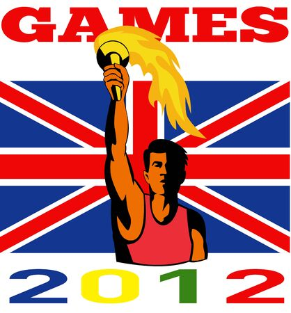 Illustration of an athlete with flaming torch with words Summer Games 2012 and Union Jack British UK Flag done in retro style  illustration