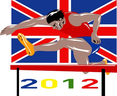 hurdles: Illustration of an athlete jumping hurdles with words Games 2012 and Union Jack British UK Flag done in retro style