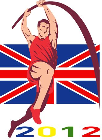 Illustration of an athlete pole vault high jump jumping with words Games 2012 and Union Jack British UK Flag done in retro style  illustration