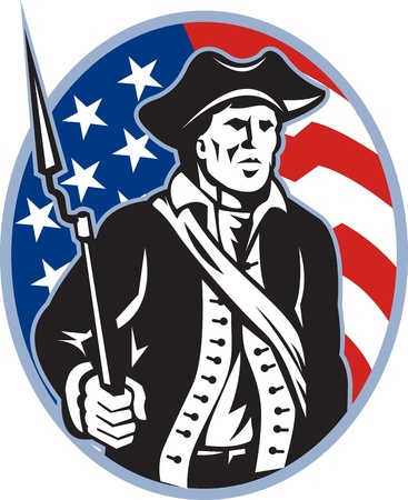 Illustration of an American patriot minuteman revolutionary soldier with musket bayonet rifle and stars and stripes flag set inside ellipse done in retro style  Vector
