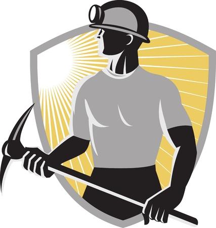 Illustratie van een mijnwerker met een pikhouweel gezien vanaf de kant gedaan in retro stijl met schild op de achtergrond
