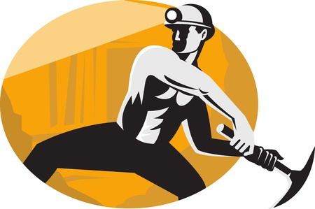 coal miner: Illustration of a coal miner worker with pick ax viewed from the side striking done in retro style  Illustration