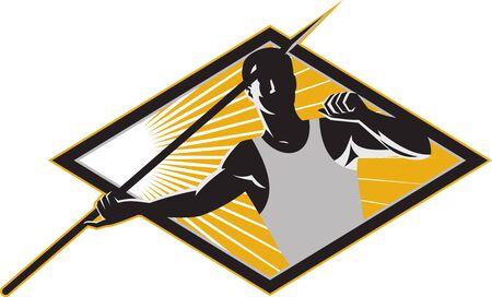 lanzamiento de jabalina: Ilustraci�n de un atleta de pista y campo de tiro de jabalina lanza derribarlo conjunto dentro diamante hecho en estilo retro del grabar en madera Vectores
