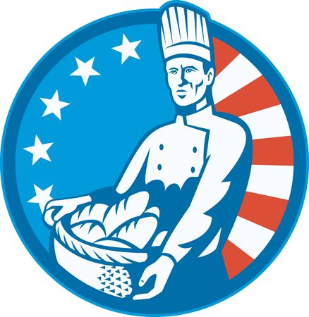 bread loaf: Illustration of an American chef baker cook holding a basket full of bread loaf with stars and stripes flag in background set inside circle done in retro style