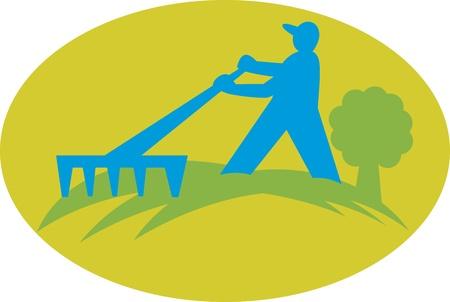 paysagiste: Illustration d'un travailleur paysagiste jardinier agriculteur travaille avec râteau ensemble à l'intérieur de l'ellipse