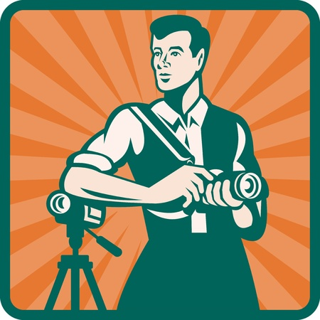 handycam: Illustration of a male photographer with DSLR camera and video cam done in retro style