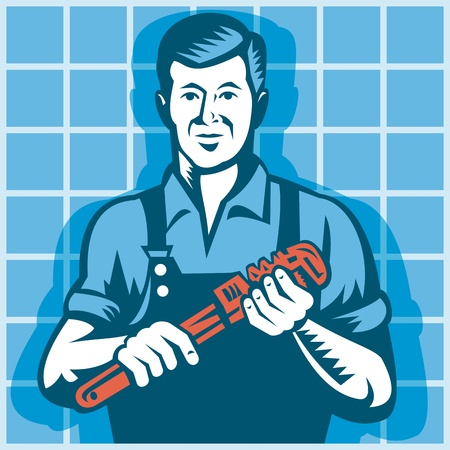tradesman: Illustration of a plumber worker tradesman holding monkey wrench with tile in background done in retro style  Illustration