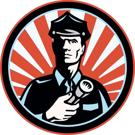 security guard: Illustration of a police officer policeman security guard holding a flashlight torch set inside circle done in retro style