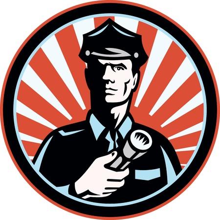 guarda de seguridad: Ilustraci�n de un guardia de seguridad oficial de la polic�a polic�a sosteniendo una antorcha linterna dentro del c�rculo hecho en estilo retro