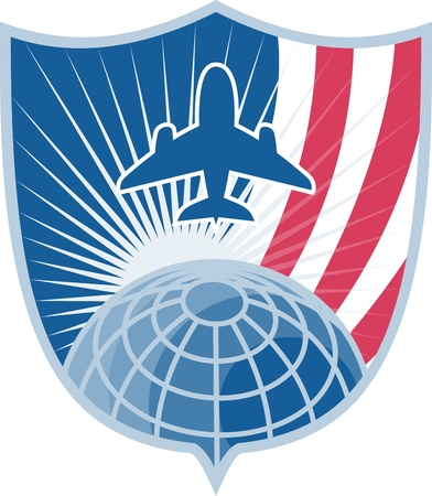 jumbo: Illustration of a jumbo jet plane taking off with globe set inside shield with stripes done in retro style