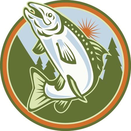 Illustration d'un poisson repéré truite mouchetée saut d'obstacle l'intérieur du cercle fait dans le style rétro Vecteurs