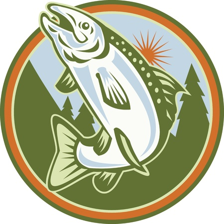 salmon fish: Illustration of a spotted speckled trout fish jumping set inside circle done in retro style