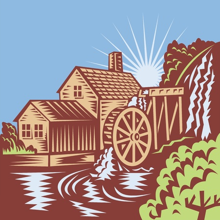 xilografia: Ilustración de un molino de agua de noria casa del molino con el río que fluye a cabo en el estilo retro grabado en madera