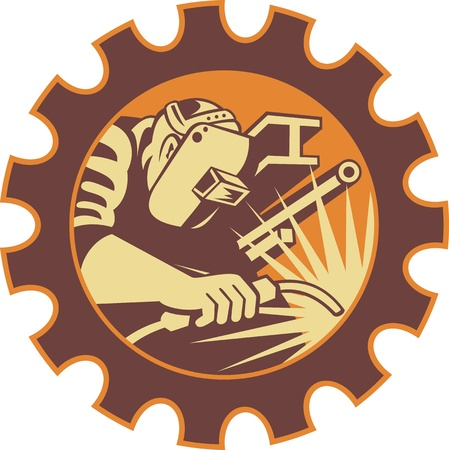 Illustration of a welder fabricator worker welding torch with i-beam pipe and bar set inside gear done in retro style  Illustration