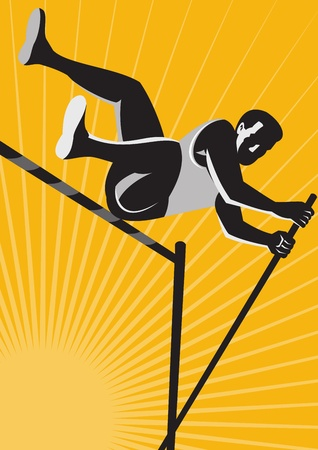 pole vault: Illustration of a track and field athlete pole vault high jump jumping done in retro woodcut style  Illustration