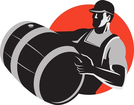 tradesman: Illustration of a man wine maker worker carrying a wine barrel cask keg done in retro style