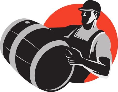 barrel: Illustration of a man wine maker worker carrying a wine barrel cask keg done in retro style