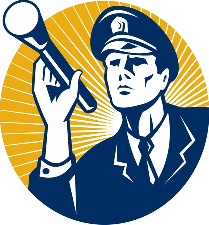Illustration of a police officer policeman security guard holding a flashlight torch set inside circle done in retro style Stock Vector - 13248564